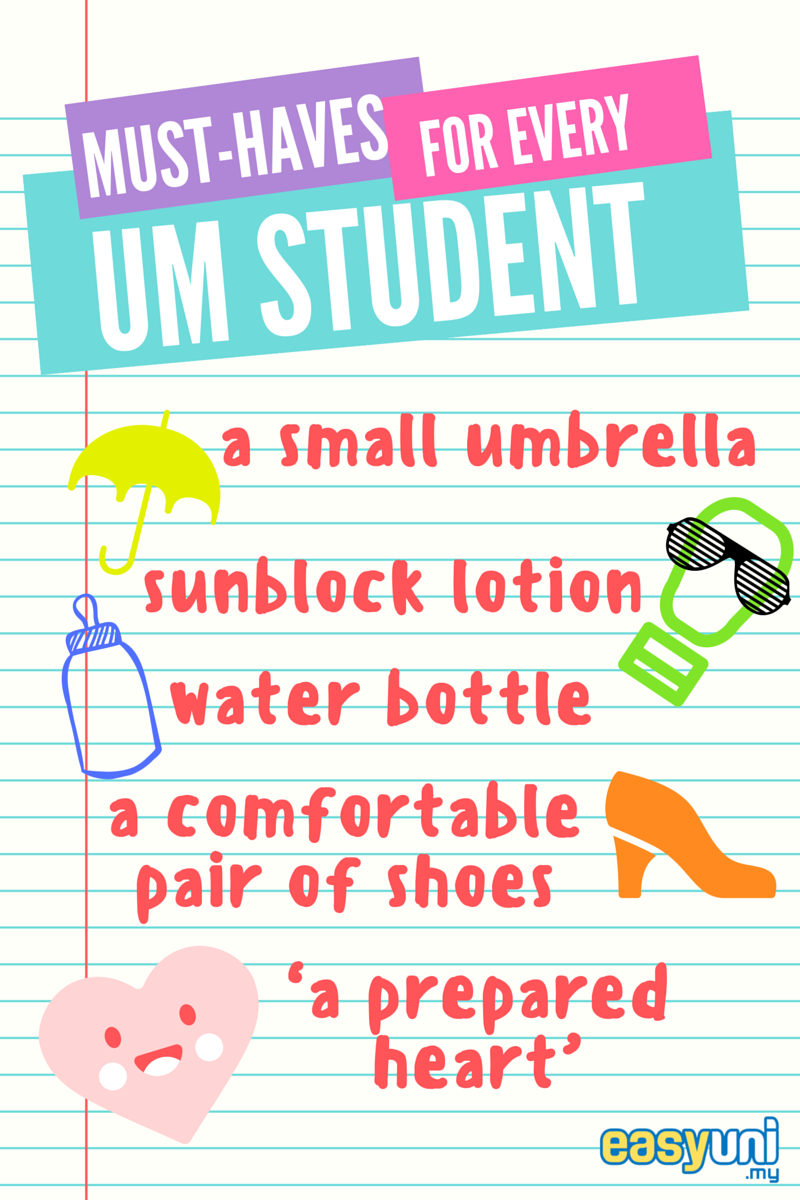 Must-haves, guide, umbrella, sunblock, water bottle, heart, shoes