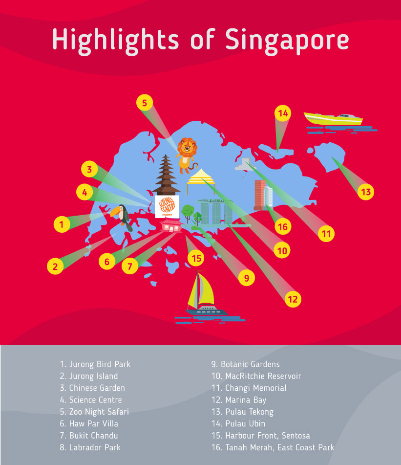Places to go to in Singapore, Map of Singapore